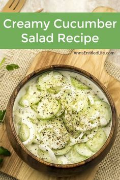 Grandma's old fashion Creamy Cucumber Salad Recipe. Super easy to make, this is a delicious blend of cucumbers and onions in a sweet, creamy sauce is the perfect cucumber salad recipe! Cucumber Onion Salad, Cucumber Recipes, Summer Salad Recipes, Salad Recipes For Dinner, Chicken Salad Recipes, Healthy Salad Recipes, Summer Salads, Vegetable Recipes, Pancake Pantry Cucumber Salad Recipe