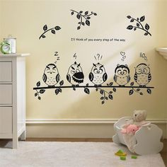happy owl family stand on the branch PVC wall stickers