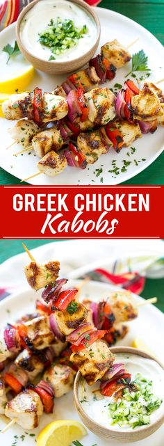 This recipe for Greek chicken kabobs is garlic and herb marinated chicken and colorful vegetables, skewered and grilled to perfection. Serve these skewers with a creamy cucumber yogurt dip for an easy and delicious dinner!