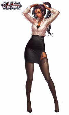 project artwork by Yoon Jung Choi(JellyB) on ArtStation. Black Anime Characters, Female Characters, Female Character Design, Character Art, Brown Hair Female, Comic Layout, Mileena, Dark Skin Girls, Fantasy Warrior