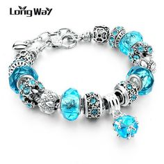 925 Silver Charm Bracelets For Women With Crystal Beads Bracelets - 18cm length - variants of colors