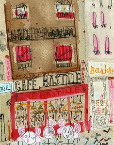 Cafe Bastille, Paris     canvas print   20 x 25 cm   