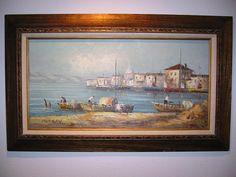 Morgan Signed Seascape Oil on Canvas Coastal Painting – Designer Unique Finds