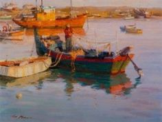 Lagos harbor 12x16 Ned Mueller - Tips for Painting Waters - GREAT Tips for various scenarios!!!