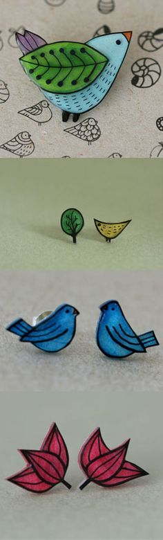 Bird shrinky dink (for shadow box) Plastic Fou, Shrink Paper, Shrink Plastic Jewelry, Shrink Art, Resin Jewelry, Jewelry Crafts, Shrink Film, Diy And Crafts, Crafts For Kids