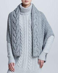 Loro Piana Gile Cable-Knit Cashmere Cape Shrug
