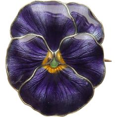 Antique Enamel Pansy Flower Brooch by Marius Hammer #purple #guilloche #Norway…