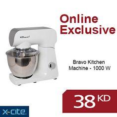 Online Exclusive: Bravo Kitchen Machine - 1000 W available for 38KD  عرض حصري: آلة المطبخ من برافو - ١٠٠٠ واط متوفرة بسعر ٣٨دك   http://www.xcite.com/small-housewares/kitchen-appliances/food-processors-cake-beaters/bravo-kitchen-machine-1000-w.html