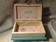 Beautiful hand crafted box for that special baby girl.  Enchantedgiftss on Etsy - not avaiable.
