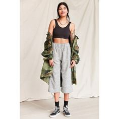 Urban Renewal Remade Textured Culotte Pant (£47) ❤ liked on Polyvore featuring pants, pull on pants, cotton pull on pants, vintage pants, vintage trousers and cotton pants