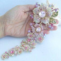 "7.3"" Rhinestone Dangle Flower Brooch Pin w Pink Rhinestone Crystal EE04704C4 #Handmade"