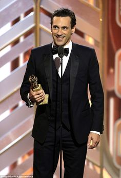 Big win: Mad Men star Jon Hamm won Best Actor in a TV drama at the Golden Globes on Sunday...