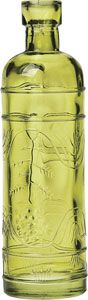 Chartreuse Green Vintage Colored Glass Bottle (round design)