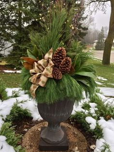 16 Festive Outdoor Decorating Ideas that Will Get You In The Holiday Spirit — Crazy Blonde Life Outdoor Christmas Planters, Christmas Urns, Christmas Greenery, Outdoor Christmas Decorations, Christmas Centerpieces, Rustic Christmas, Winter Christmas, Christmas Wreaths, Winter Porch