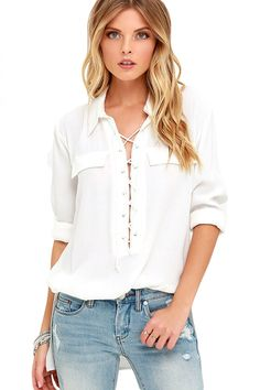 White Long Sleeve Lace-up Top