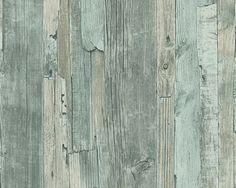 Gebruikt behang: AS Creation Decoworld Schutting Sloophout Behang 95405-5 (mintgroen)