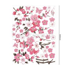 Pink Plum Flower Butterfly Sitting Room/Bedroom Wall Stickers
