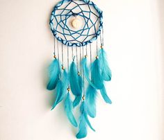 Large Dream Catcher - Blue Moon - With Moon Amulet, Turqoise Green Swan Feathers, Ble Frame and Web - Home Decor, Nursery Mobile
