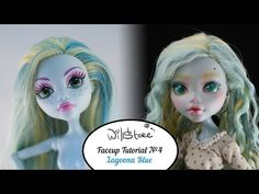Faceup №4 Lagoona Blue OOAK Monster High Cutom doll repaint - YouTube