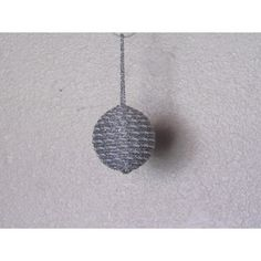 Handcrafted ornament is created with a base wrapped with white and silver rope ribbon and silver rope ribbon with a silver cap on the bottom. Handcrafted Christmas Ornaments, Handmade Christmas, Fabric Ornaments, Ball Ornaments, Glass Ball, Gemstones, Create, Gifts