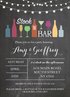 Stock The Bar Engagement Card Design   Features A Bar Chalkboard With Party  Drinks. Beautiful Part 74