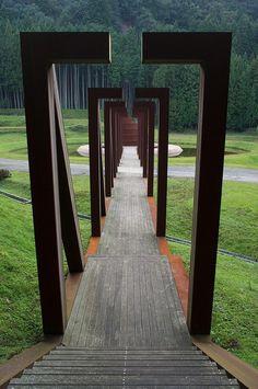 Corten Steel Bridge to Step Pagoda, Murou Art Forest, Nara, Japan designed by Dani Karavan