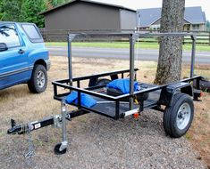 A Carry-On utility trailer is the perfect size for building a camping trailer with DIY No Weld Racks. What will you carry on your racks? Camping Trailer Diy, Kayak Trailer, Off Road Camper Trailer, Jeep Camping, Trailer Plans, Trailer Build, Car Trailer, Utility Trailer, Camper Trailers