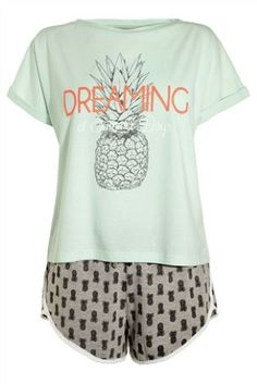 PJs  Jersey Pineapple Print Shorts Set from Next Ananas 160a07505e5