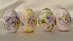 Hand Painted 4 Wooden Eggs Easter Cottage Chic Shabby Roses Hydrangeas Lace HP