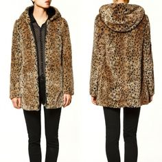 New Sexy Winter Warm Hooded Leopard Print Faux Fur Coat Jacket Outerwear