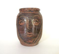 Fine Modernist Studio Pottery Vase, Abstract Female Portrait, Mid-Century
