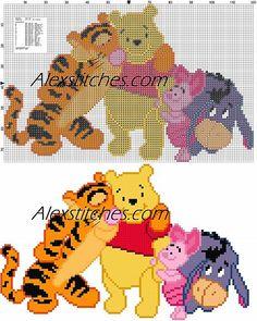 Winnie-the-Pooh friends cross stitch pattern - free cross stitch patterns by Alex Cross Stitch Baby, Cross Stitch Kits, Cross Stitch Patterns, Cross Stitching, Cross Stitch Embroidery, Embroidery Patterns, Winnie The Pooh Friends, Disney Winnie The Pooh, Embroidery Hoop Nursery