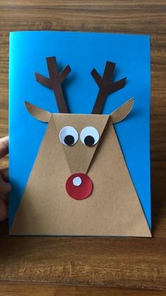 Simple DIY paper crafts-deer-just a few steps to do. Summer Crafts For Kids, Christmas Crafts For Kids, Xmas Crafts, Fun Crafts, Art For Kids, Moose Crafts, Scarecrow Crafts, Paper Crafts Origami, Paper Crafts For Kids