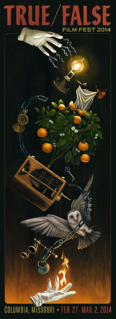 """""""Magic/Realism"""" also inspired our 2014 poster, created by artist Akiko Stehrenberger under the direction of veteran T/F collaborator Erik Buckham. The poster quotes """"The Marvelous Orange Tree"""" illusion invented by Jean Eugène Robert-Houdin, the father of modern magic."""