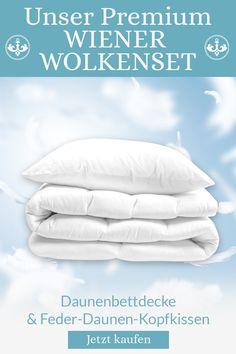 Ein unschlagbares Duo: Das WIENER WOLKENBETT und das WIENER WOLKENPOLSTER im Set. So steht deinem himmlischen Schlafgenuss im Schlafzimmer nichts mehr im Wege. Hochwertige Daunendecke und Kopfkissen mit hochwertigem Feder-/Daunen-Mix aus deutscher Produktion. Bed Pillows, Pillow Cases, Cassette Tape, Comforters Bed, Bedroom Ideas, Clouds, Pillows