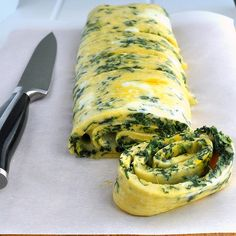 Spinach and Cheddar Rolled Omelet