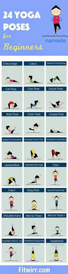 24 Yoga Poses for Beginners. Chaturanga, cobra, downward facing dog, and many more. on Viral pictures of the day
