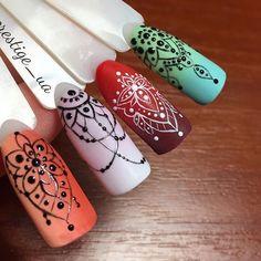 Trendy Nail Art Design by Olga Grynevych Prestige ua nailart naildesign nailtrends nailtech # Acrylic Nail Art, Gel Nail Art, Acrylic Nail Designs, Henna Nail Art, Henna Nails, Nail Art Dentelle, Nail Art Arabesque, Mandala Nails, Gel Nagel Design