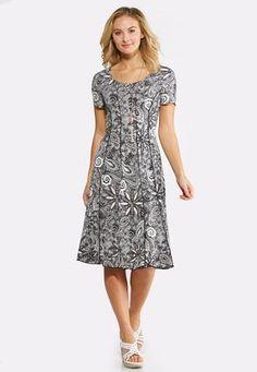 Cato Fashions Plus Size Paisley Puff Print Dress #CatoFashions