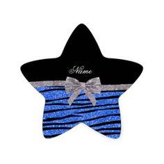 Custom name blue glitter zebra stripes bow star stickers