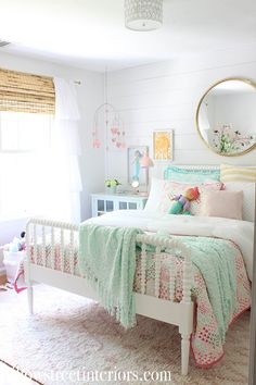 Every little detail in room reminds us why being a kid is so magical. Thanks for Big Girl Rooms detail Kid Magical reminds room Girls Bedroom, Big Girl Bedrooms, Little Girl Rooms, Bedroom Decor, Bedroom Ideas, Modern Girls Rooms, Master Bedrooms, Bedroom Mirrors, Pink Aqua Bedroom