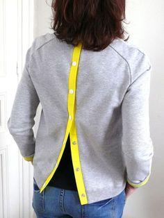 Sweat customisé par une patte de boutonnage, Patron couture gratuit
