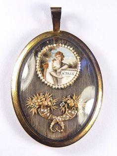 Fabulous Unusual Antique English Gilt Navette Mourning Locket Portrait Pendant   eBay