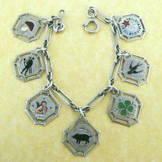 Vintage German silver good luck charm bracelet