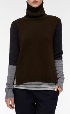 Tri Color-Block Turtleneck | Vince.