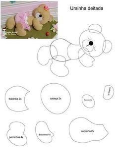 cute baby bear felt pattern, would look lovely on a little girls/boys nappy bag, just sew a brooch pin on the back Bear Felt, Felt Baby, Baby Crafts, Felt Crafts, Fabric Crafts, Felt Templates, Applique Templates, Card Templates, Felt Patterns