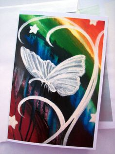 Folded Greeting Card Rainbow Butterfly by KaylynFitzgerald on Etsy, $4.00