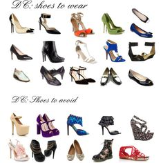 "Shoes for Dramatic Classic by wichy on Polyvore | NOTE: I love most of these shoes; they're slightly chunky, moderately sharp, and fairly simple. But all three pairs of peep-toe shoes would be too rounded and ""cute"" for me, as would the bow-top ballet flats. I see the black and white loafers as better for Classic or Gamine, but not ideal for anyone. I would buy the two pairs of black shoes with chunkier ankle straps and the black booties with no hesitation."