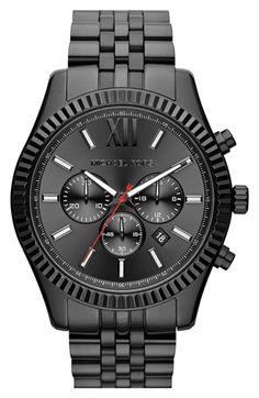 Want a black watch! Michael Kors 'Large Lexington' Chronograph Bracelet Watch, 45mm | Nordstrom