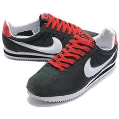 http://www.asneakers4u.com/ Men Nike Cortez Oxford Cloth Shoes Black White Red